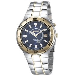 Seiko Men's SKA442 Stainless Steel Kinetic with Blue Dial Watch