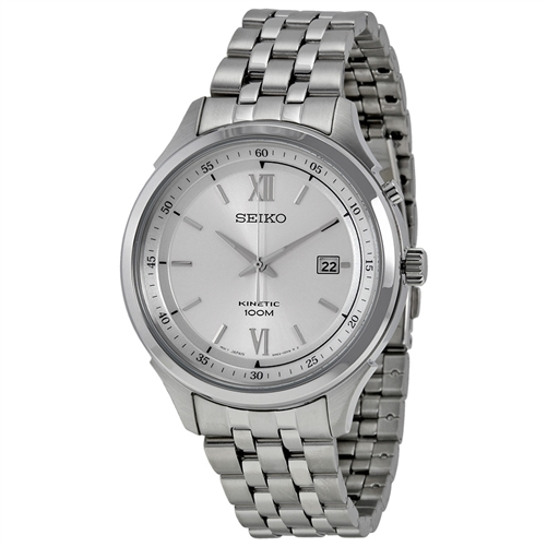 Seiko men 39 s ska653 stainless steel kinetic with white dial watch for Movado kinetic