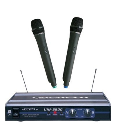 vocopro uhf 3200 uhf dual channel wireless microphone system. Black Bedroom Furniture Sets. Home Design Ideas