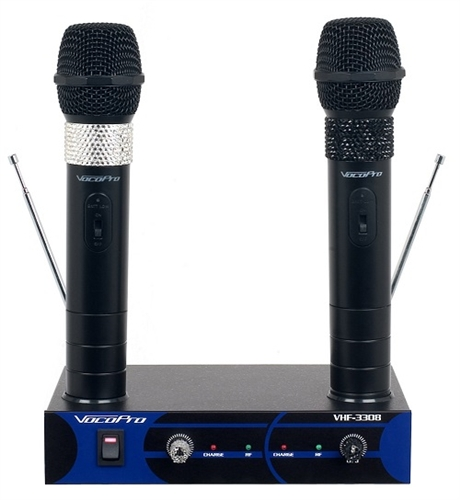 vocopro vhf 3308 dual channel rechargeable wireless microphone system. Black Bedroom Furniture Sets. Home Design Ideas